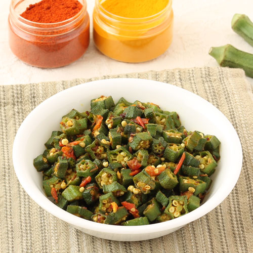 Simple Dry Bhindi Bhaji with Tomato