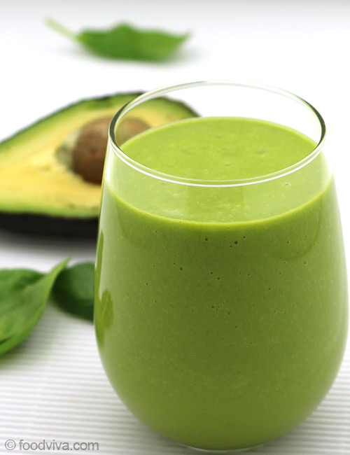 Avocado Smoothie With Almond Milk Spinach And Orange
