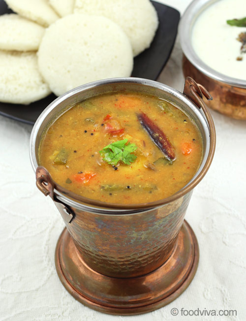 Easy Vegetable Sambhar for Idli and Dosa
